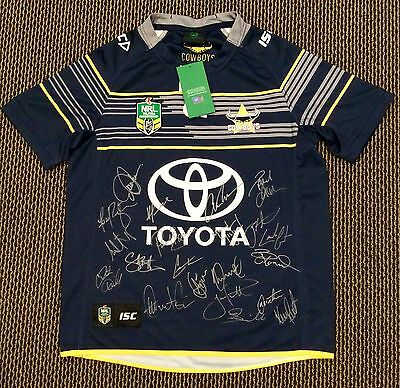 2016 NORTH QUEENSLAND COWBOYS HOME SIGNED NRL LEAGUE JERSEY Large - 22 Sigs COA