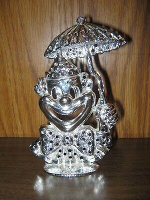 Vintage Torino Clown With Umbrella Silverplated Earring Tree