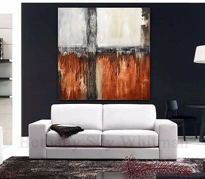 ORIGINAL ABSTRACT 48 x 48 BROWN MODERN ART CONTEMPORARY PAINTING ~ Sky Whitman