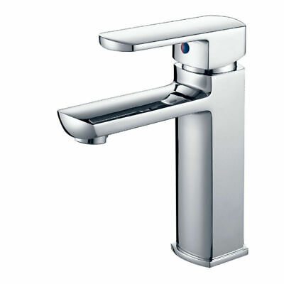 Basin Mixer Tap Matt Chrome Square for Bathroom Kitchen Vanity Sink