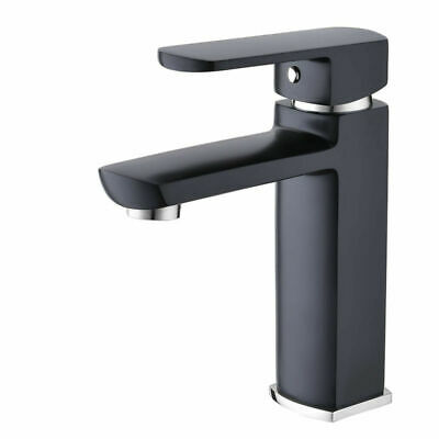 Basin Mixer Matt Black/Chrome Square Design for Bathroom Kitchen Vanity Sink