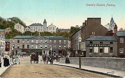 QUEEN'S SQUARE FERMOY CORK IRELAND IRISH POSTCARD by W. O'CONNELL STATIONER