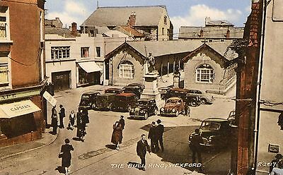 The Bull Ring Wexford Ireland Valentines Irish Postcard R2817 Posted 5-Aug-1960