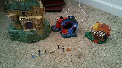 2001 Mattel Harry Potter Polly Pocket Playset Lot Figures HOGWARTS Castle Train