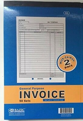 INVOICE Receipt BOOK 2-Part 50 Sets Numbered Original Duplicate w/Carbon