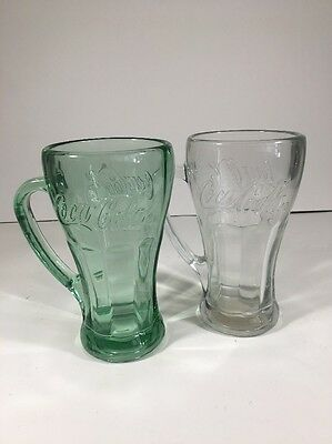 Lot Of Two Libbey Coca Cola Mugs Clear And Green