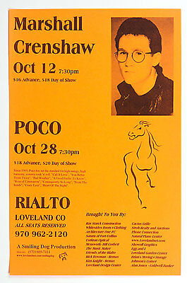 POCO Poster w/ Marshall Crenshaw 2000 October Rialto Loverland