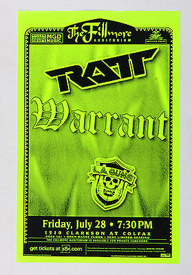 RATT Poster w/ Warrant LA Guns 2000 Jul 28 The Fillmore Denver
