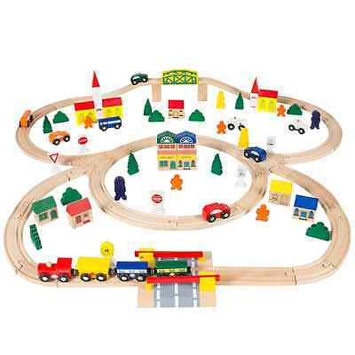 Best Choice Products 100pc Hand Crafted Wooden Train Set Triple Loop Railway Woo