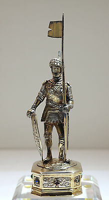 German Sterling Gilt Silver Figure of Medieval Knight/Warrior w/Stones C. 1900
