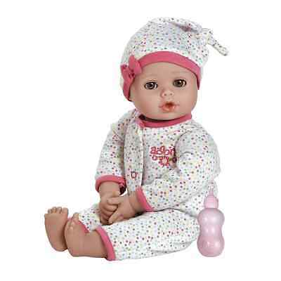 """Adora PlayTime Baby Dot Vinyl 13"""" Girl Weighted Washable Play Doll Gift Set with"""