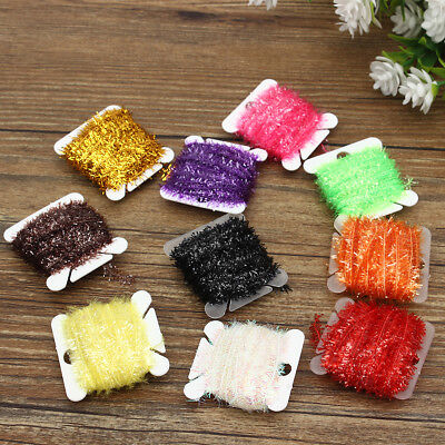 10Pcs Ice Card Fly Tying Materials Tinsel Cactus Chenille Medium Crystal Body