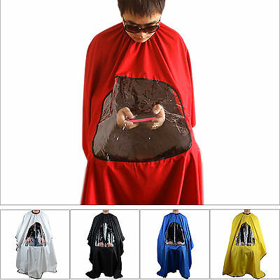 Pro Salon Barber Hair Cutting Gown Cape With Viewing Window Hairdresser Apron J