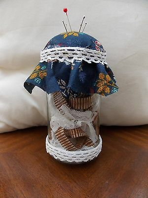 pin cushion jar with vintage lace