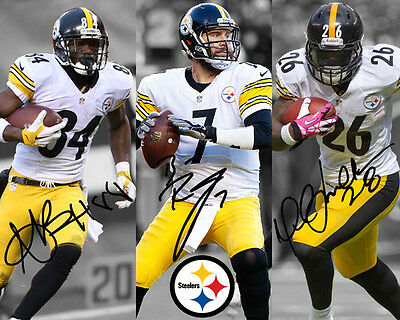 Ben Roethlisberger Le'Veon Bell Antonio Brown Steelers Signed Autograph Reprint