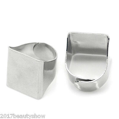 "10PCs Rings Adjustable Base Blank Silver Tone 16.3mm( 5/8"") Jewelry"