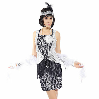 Carnevale Cosplay Costume Minivestito 1920s Charleston Chicago Stile Frange L