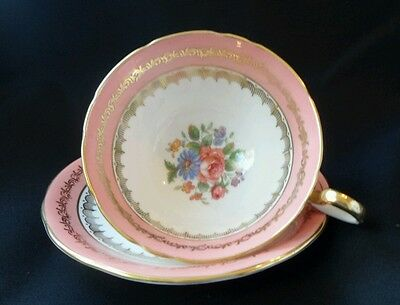 Aynsley vintage Pink floral Teacup and Saucer Excellent condition England