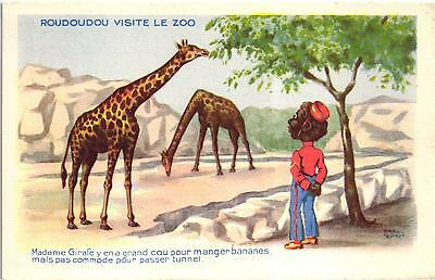 Comic Racist French Postcard Black Boy In The Zoo Artist Signed 1940/50S