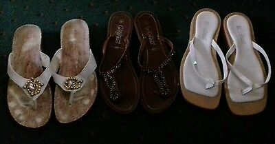 3 Pairs Womens Toe Post Sandals Size 5