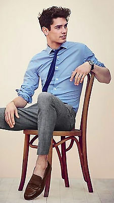 Mens New Slim Fit Blue long sleeve Casual 100% Cotton Shirt Size XXL