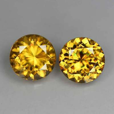 "1.47Cts""Madagascar"" Vivid Golden Yellow ""Round Cut"" Natural Sphene 2 Pcs""2p1787"