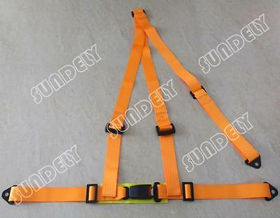 Orange 3 Point Racing Rally Race Harness with Anchor Plates UK