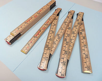 Wooden Folding Ruler Premium Quality 1M Measure Rule with Metal Snaplock Joints