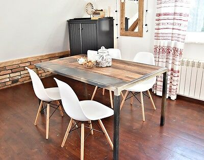 design Reclaimed Wood & Steel Kitchen Dining Table Industrial loft style 6 seats