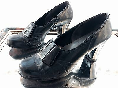 Stunning Vintage 1930's 40's Naturalizer Black Glacé Leather Court Shoes WW2 6.5