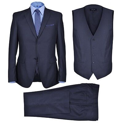 New Three Piece Men's Business Suit Size 52 Navy Blue Jacket Waistcoat Trousers