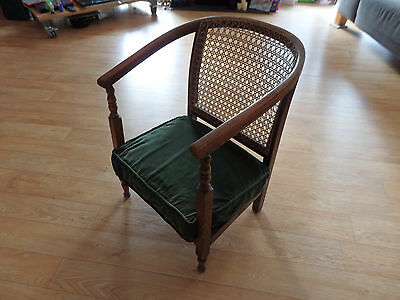 Edwardian Bergere Nursing Bedroom Chair Low Armchair Beech