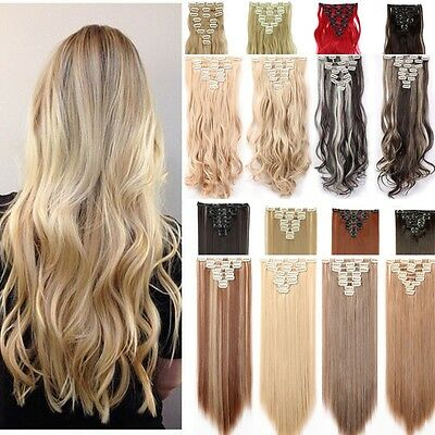 100% Real as remy human Hair Clip in Full Head Hair Extensions 8 Piece New Color