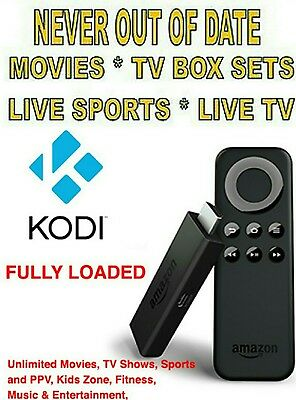 Amazon Fire HD Media Streaming TV Stick Fully Loaded With Kodi +Jarvis 16.1 ++++