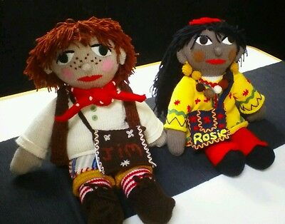 Rosie & Jim       Knitted Dolls      ** Beautifully Hand Knitted **