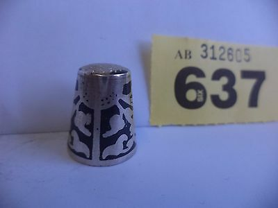 Vintage Continental / Euro .900 Solid Niello Silver Thimble with Sun Decoration