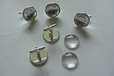 14mm 16mm 18mm 20mm SILVER ROUND CUFFLINK SETTING BLANKS  OPTIONAL GLASS DOMES