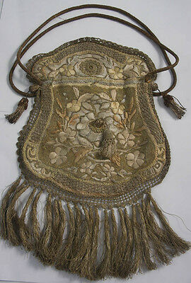 Antique 19Th Century Gold Tone Hand Embroidered Evening Bag (3750)