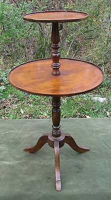 Antique 19thC English Mahogany 2 Tier Dumbwaiter Table