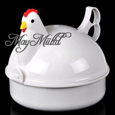 Egg Cooker Poacher Boiler Steamer Microwave For 4 Eggs Plastic Chicken Shaped