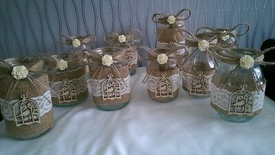 Shabby Chic/Vintage Wedding Hand Decorated Glass Jars Tea Lights Etc
