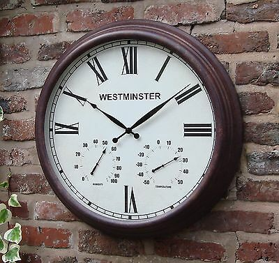 Large Giant Metal Outdoor Garden Wall Clock Thermometer  24inch 61cm Rust Roman