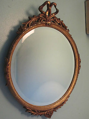 LARGE 19thC ANTIQUE Round GILT Giltwood Gesso Wooden Ribbon Carved MIRROR