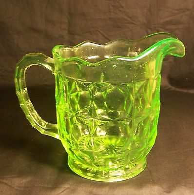 """Sowerby Glass """" Oxford Suite """" Uranium Glass Pitcher 1930s uv tested VGC"""