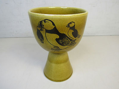 Lybster Pottery Puffin Goblet Scottish Potter Cup