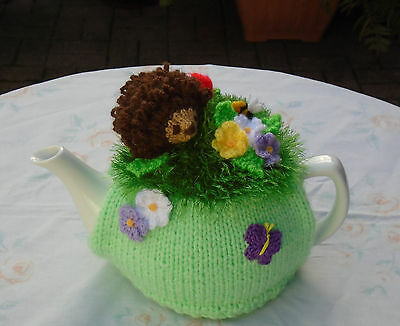 Hand Knitted Hedgehog In The Flower Garden Tea Cosy For A Medium Teapot Bee