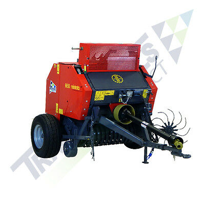 TX48 Mini Round Hay Baler with twine wrap & central drawbar for compact tractors