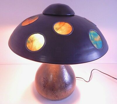 Original Fulper Ceramic Table Lamp Wonderful Stained Glass Shade Arts & Crafts