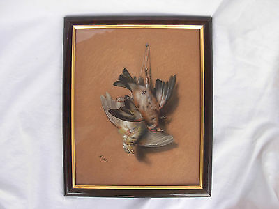 ANTIQUE FRENCH FRAMED PASTEL PAINTING,STILL LIFE BIRDS,MIDDLE 19th CENTURY.