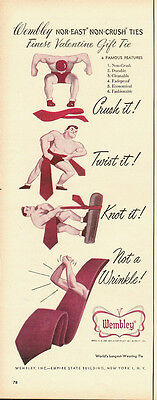 1951 Vintage ad for Wembley Ties~Nor-East, Non-Crush Ties (0808013)